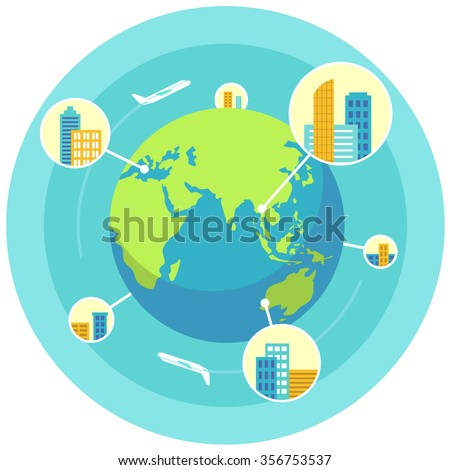 Global business design concept in flat style - stock vector