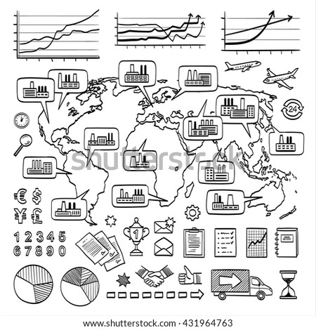 Global business doodle concept. Vector hand drawn sketch icons. Many factories around the world. Isolated on white background. - stock vector