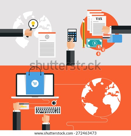 Global business, emailing and online shopping - stock vector