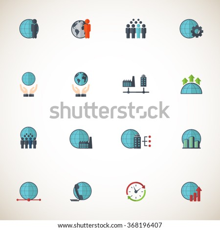Global Business Icon set - stock vector