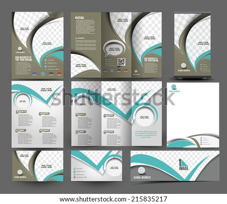 Global Business Stationery Set Template  - stock vector