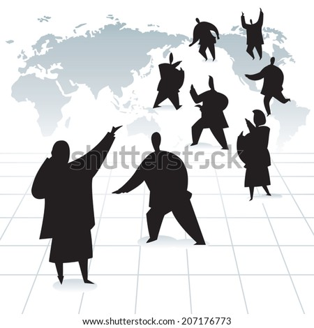 Global business team at work silhouette. Businessman and business women busy working against world map background. - stock vector