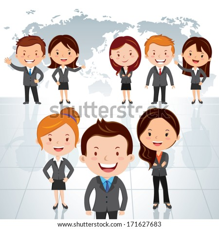 Global business team. Vector illustration of a group of successful businessman and business women standing against world map background. - stock vector