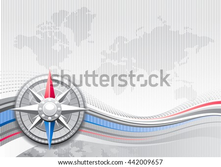 Global business travel abstract background with stripped silver pattern and world map. Realistic icon and copy space for text. For tourism agency, communications and other summer vacation designs - stock vector