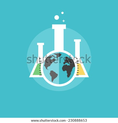 Global chemistry analysis, chemical test and scientific experiments, laboratory equipment. Flat icon modern design style vector illustration concept. - stock vector