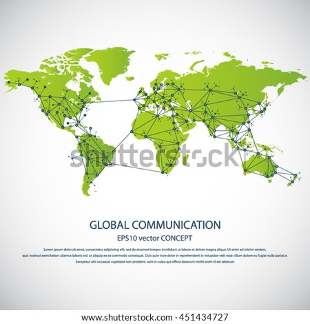 Global communication - EPS10 vector concept. All major - biggest cities are pointed on detailed world map.. Masses of copy space for your text.Can be used in any project - stock vector