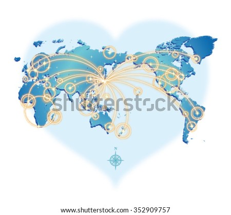 GLOBAL COMMUNICATION (from Japan) - stock vector