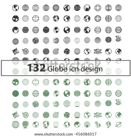 global communication icon set, globe icons design, planet, sphere, world, map illustrations - stock vector