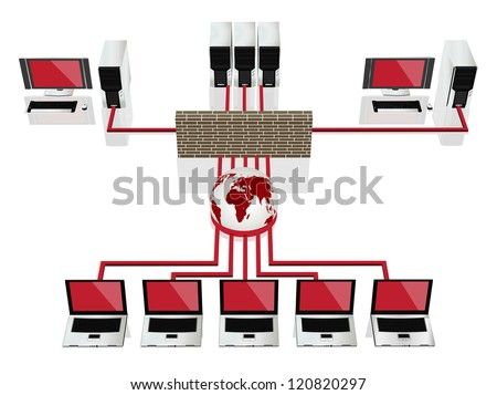 Global computer network concept - stock vector