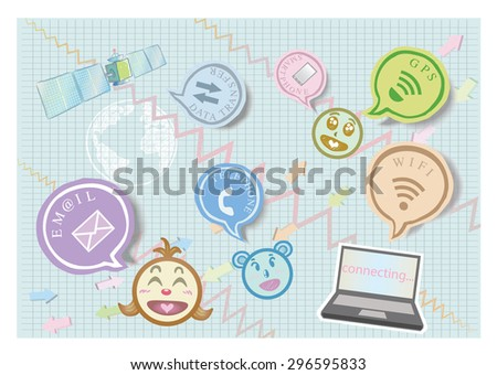 Global connections network. Social media design - stock vector