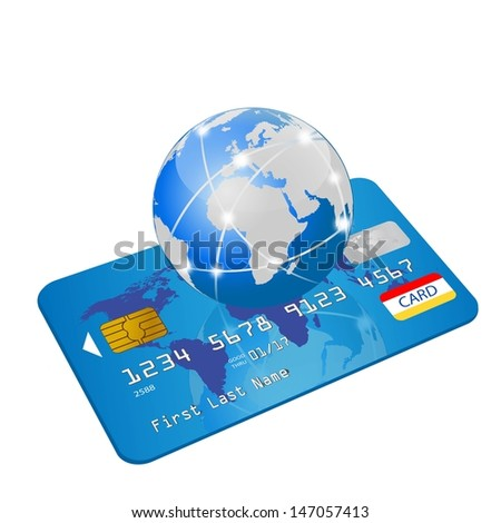 global credit card - stock vector
