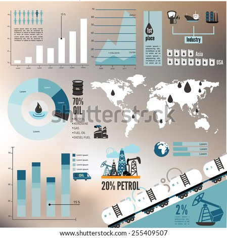 Global crude oil drilling and refining industrial process petroleum production distribution business infographic statistic presentation vector illustration - stock vector