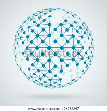 Global digital connections, network - stock vector