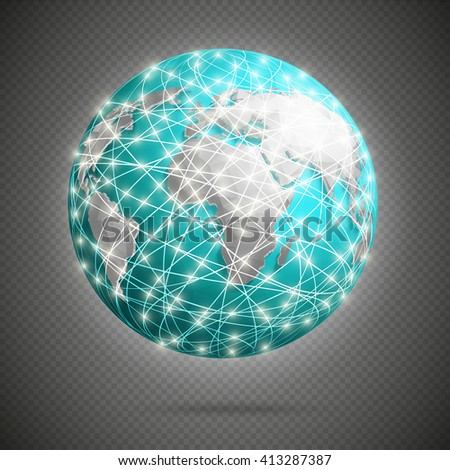 Global digital connections with glowing lights around earth, net - stock vector