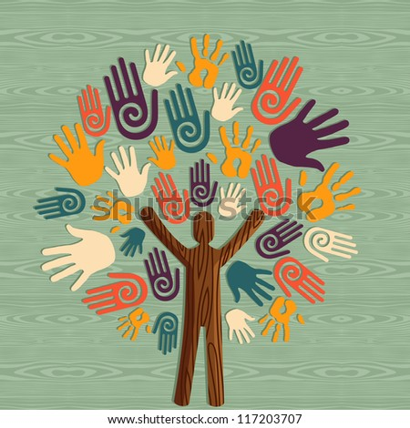 Global diversity man as trunk tree hands illustration. Vector file layered for easy manipulation and custom coloring. - stock vector