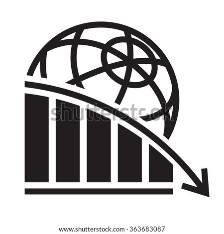 global economy crisis icon - stock vector