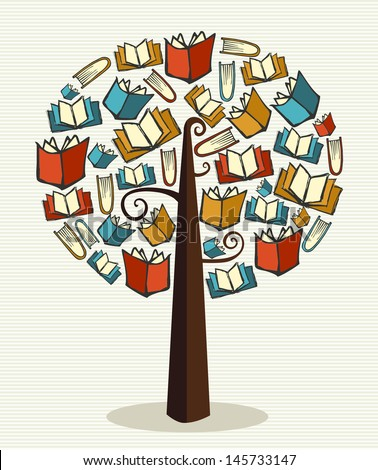 Global education concept tree made books. Vector file layered for easy manipulation and custom coloring.   - stock vector
