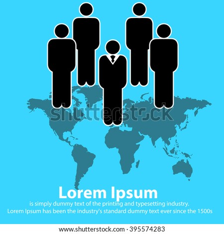 Global human resources business people work team walk forward from world map - stock vector
