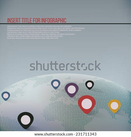 Global infographic map with location pins spread across, marking places of the world. - stock vector