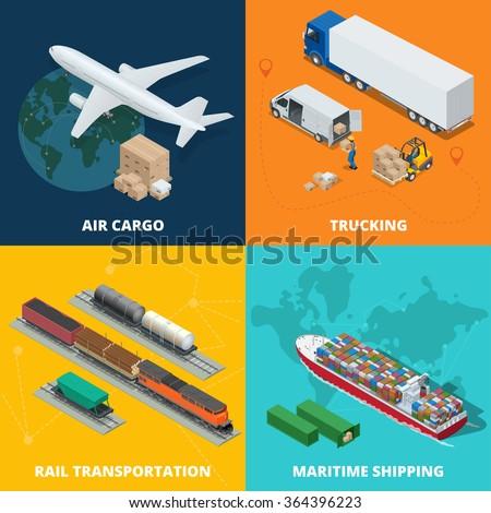 Global Logistic network, Logistics concept, Logistics Vector, Logistics transportation, Logistics truck, Logistics supply chain, Logistics warehouse, Logistics isometric, Logistics 3d illustration - stock vector