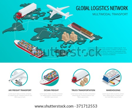 Global logistics network Flat 3d isometric vector illustration Icons set of air cargo trucking,  maritime shipping, warehouse. On-time delivery. Vehicles designed to carry large numbers of China cargo - stock vector