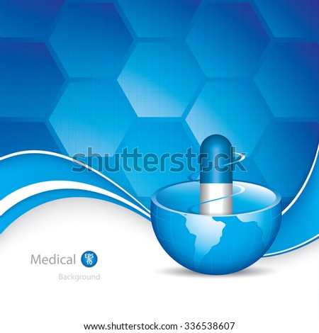 Global medicine background.Blue pill vector - stock vector