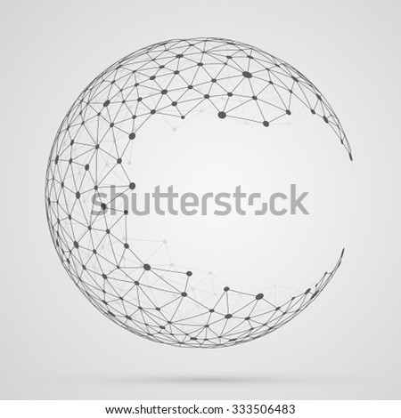 Global mesh sphere. Abstract geometric shape with spherical severed off triangular faces. - stock vector