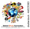 Global Music Event Abstract Background For Disco Flyers - stock vector