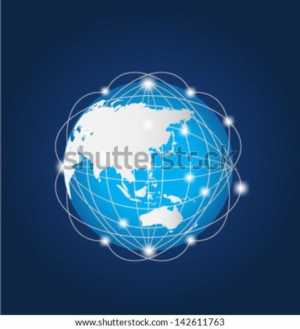 Global Network Asia - stock vector