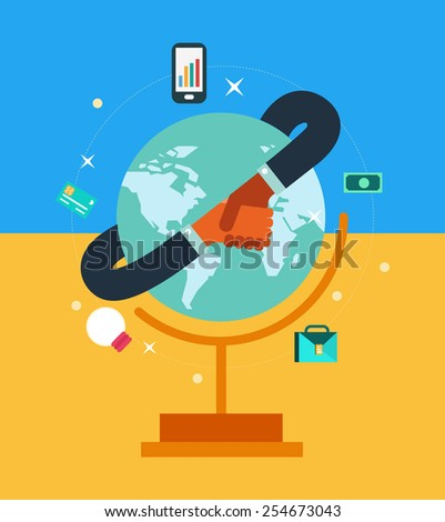 Global network business partner in a handshake. flat design. vector illustration - stock vector
