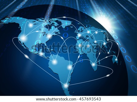 Global network connection background - stock vector