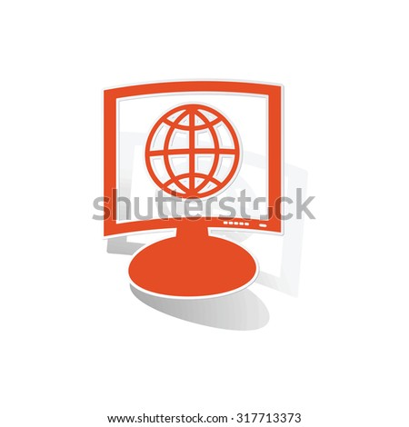 Global network monitor sticker, orange chat bubble with image inside, on white background - stock vector