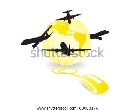 Global network the Internet and airplanes. - stock vector