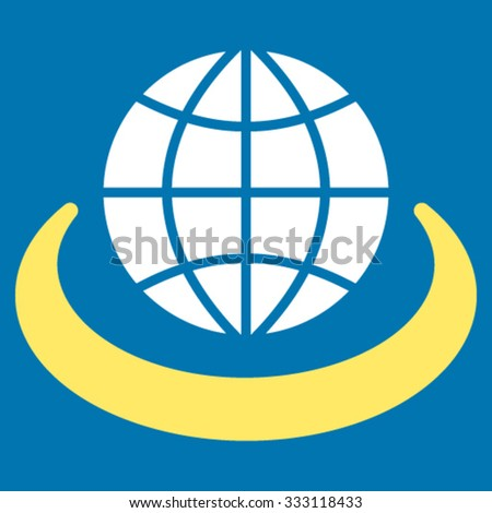 Global Network vector icon. Style is bicolor flat symbol, yellow and white colors, rounded angles, blue background. - stock vector