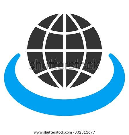 Global Network vector icon. Style is flat symbol, rounded angles, white background. - stock vector