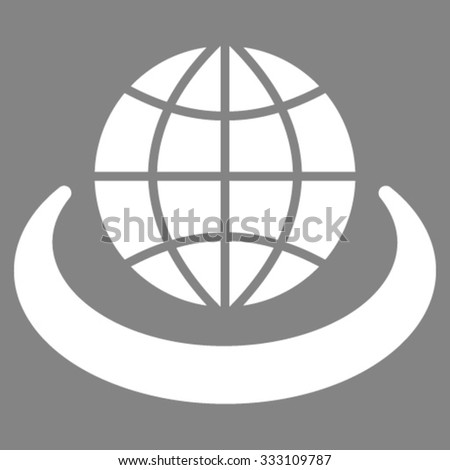 Global Network vector icon. Style is flat symbol, white color, rounded angles, gray background. - stock vector