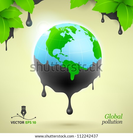 Global pollution - stock vector