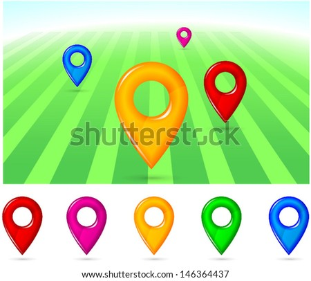 Global Positioning System pointers in different colors - stock vector