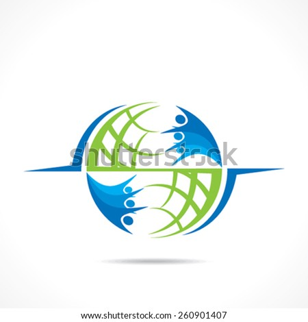 global relation or support design concept  vector - stock vector