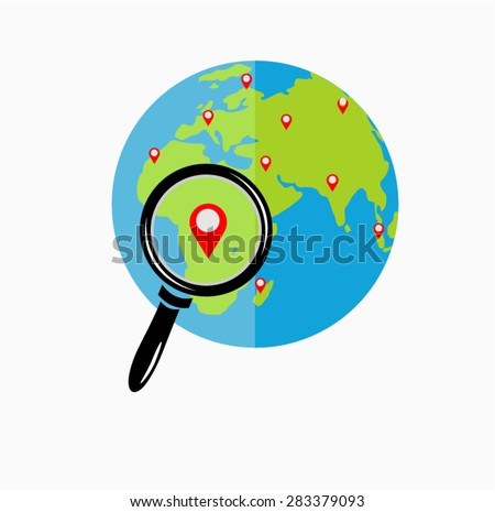 Global search concept. Globe zoom. Earth with magnifying glass search icon. Searching place. Flat design. Illustration looking place. - stock vector