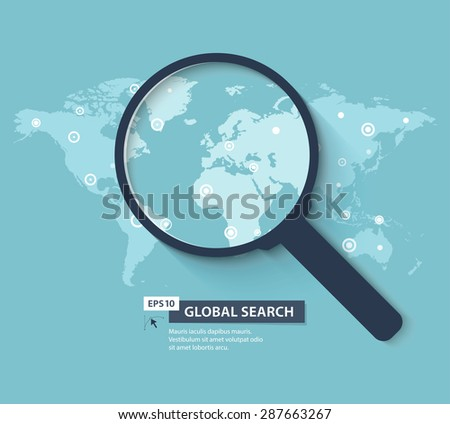 Global search concept in flat style. Vector illustration - stock vector
