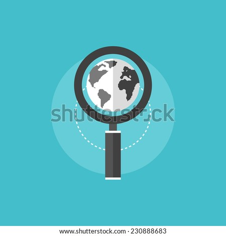 Global search engine optimization process with magnifier lens and world globe. Flat icon modern design style vector illustration concept. - stock vector