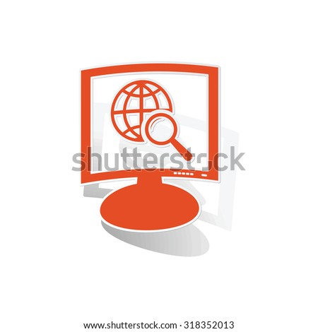 Global search monitor sticker, orange monitor with image inside, on white background - stock vector