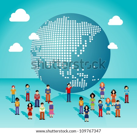 Global social media people network connection from Asia, Australia and Oceania map. Vector illustration layered for easy manipulation and custom coloring. - stock vector