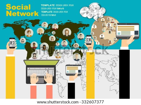 Global social network abstract scheme. Concepts for web banner and printed materials. - stock vector