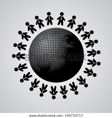 global team over gray background vector illustration - stock vector