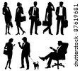 global team - vector silhouettes - stock vector