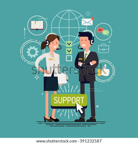 Global technical support vector concept design with support specialist ready to solve any problem. Online tech support illustration. Troubleshooting and maintenance department in business and industry - stock vector