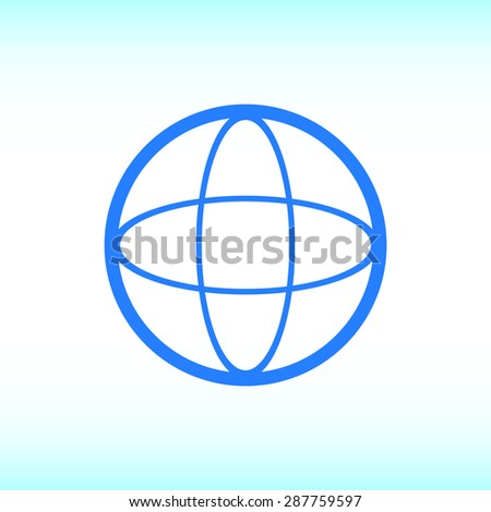 Global technology or social network icon, vector illustration. Flat design style. - stock vector