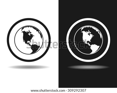 Global technology or social network icon, vector illustration. Flat design style - stock vector